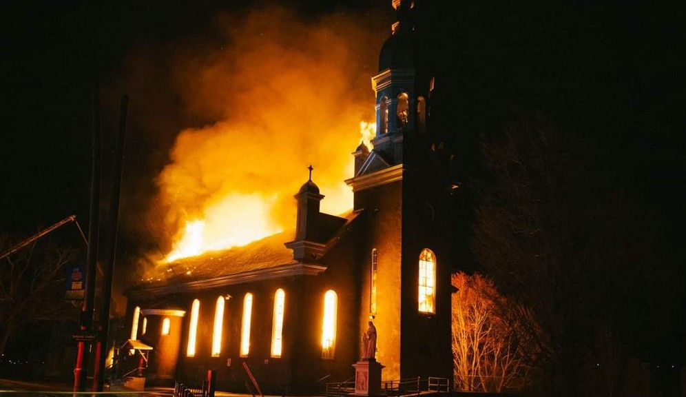 Saint Anne's Church in Listuguj was completely destroyed by fire April 26.