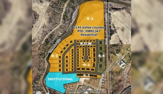 Bathurst city council passed the third reading of a zoning bylaw with amendments for a property on Vallée Lourdes Drive in Bathurst at Monday night's council meeting. Pictured is a plan of the property.