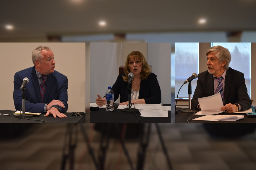 The Chaleur Chamber of Commerce held a mayoral debate for municipalities in the Chaleur region Wednesday night at Gowan Brae Golf & Country Club. Pictured are Bathurst candidates from left: Greg Bossé, Kim Chamberlain and Richard Barbeau.