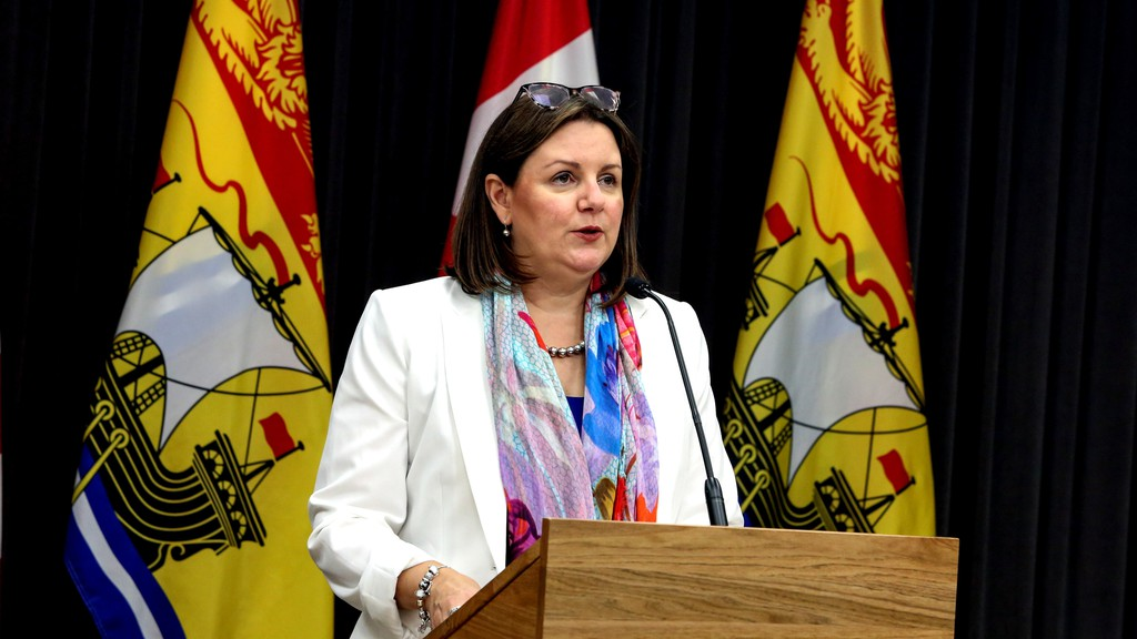 The province is reporting 10 new cases of COVID-19 Thursday, one of which is in the Bathurst area health zone. Pictured is Dr. Jennifer Russell, chief medical officer of health, during a past media briefing.