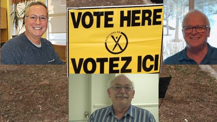 Three are running for the Subdistrict 1 seat of the District Education Council of Anglophone North School District. They are, clockwise from top left, Gilbert Cyr, Randy Hunter, and Mike Mortlock.