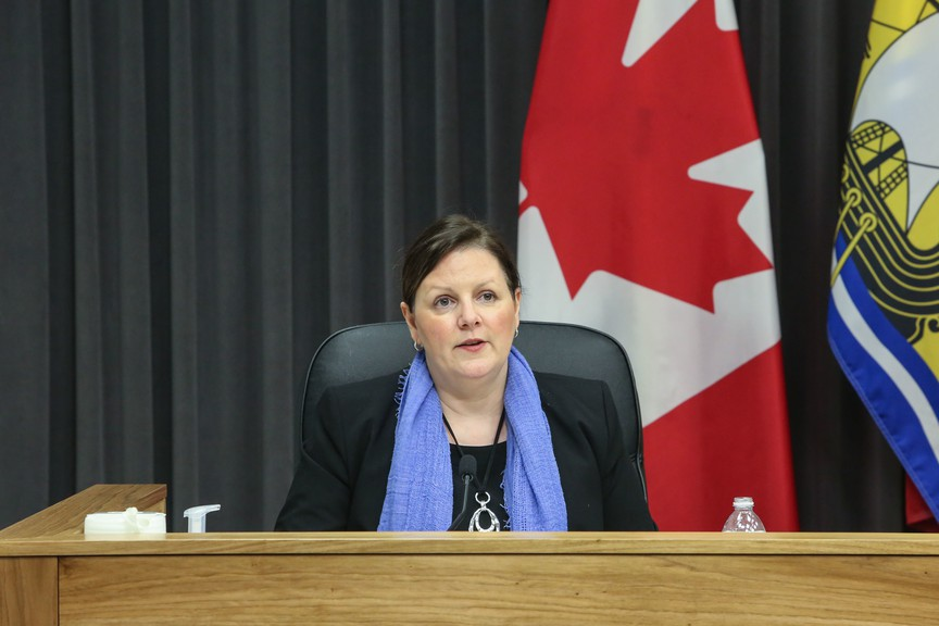 Dr. Jennifer Russell, New Brunswick chief medical officer of health, speaks at an April 22 press conference. The province reported 15 new COVID-19 cases Friday, including three in Zone 7, the Miramichi region.