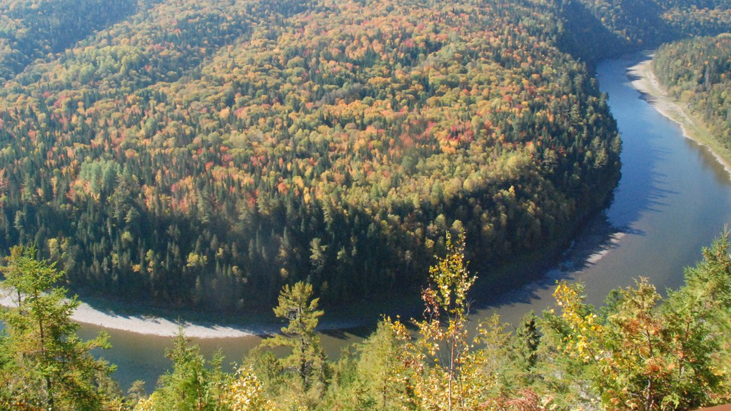 The Restigouche River seen from Le Belvedere Du Soleil D'Or at L'Ascension-de-Patapedia, Que. looking toward New Brunswick. A New Brunswick Tourism Department report says work will continue on creating a framework for making the Restigouche River watershed into a 'wilderness experience.'