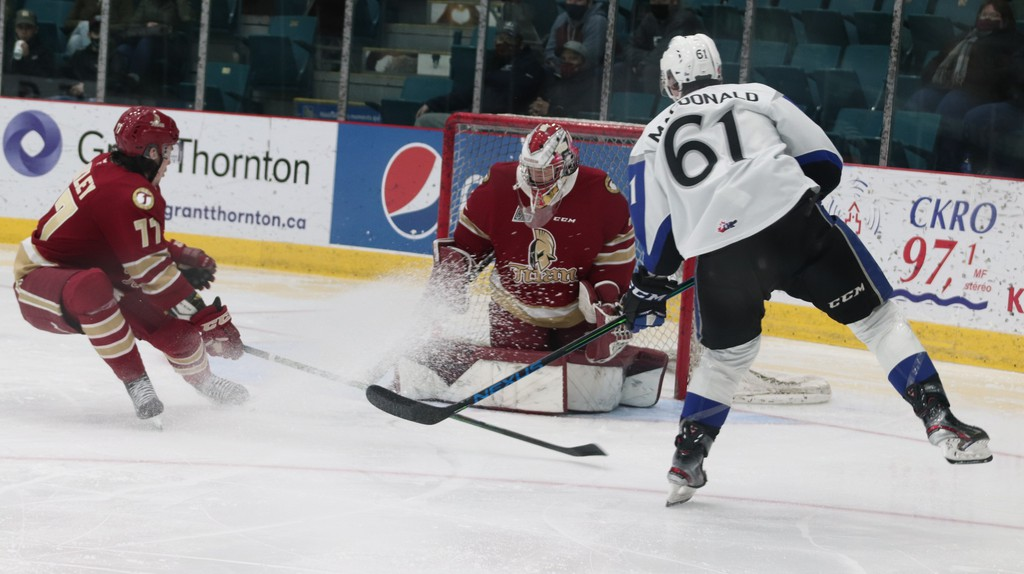 Titan goaltender Jan Bednar defends the net during a game home game Friday night against the Saint John Sea Dogs at the K.C. Irving Regional Cenre.