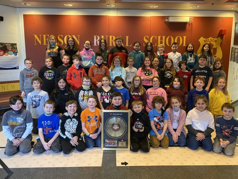 Students at Nelson Rural School in Miramichi celebrate their victory in the elementary vocal category of this year's CBC Music Class Challenge.