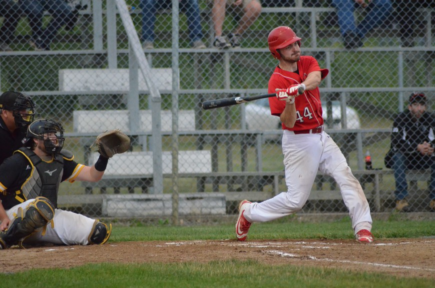 John Cortes swings for the Miramichi Mike's Bar and Grill Cardinals during Miramichi Valley Baseball League playoff action against the Chatham Head Tigers in 2019. The intermediate A circuit's return to the field for the 2021 season has been confirmed.