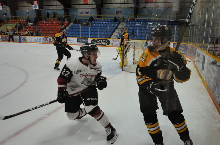 Miramichi Timberwolves forward Gavin Watt, 22, attempts to throw Campbellton Tigers winger Justin David off his game during Maritime Junior Hockey League round-robin play Saturday at Miramichi Civic Centre. Watt scored twice in the Wolves' 4-1 victory over the Tigers.