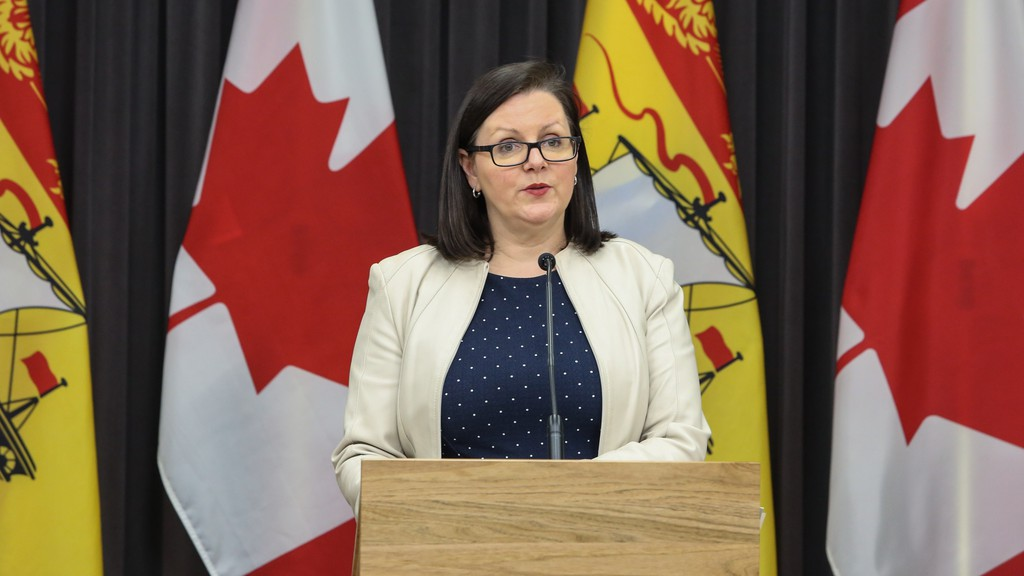 The province is reporting one new case of COVID-19 in the Bathurst area health zone Sunday. The case is one of six in the province for the day. Pictured is Dr. Jennifer Russell, chief medical officer of health, during a past press briefing.