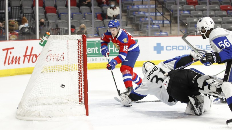 Moncton Wildcats forward Mathis Cloutier scores on Saint John Sea Dogs goaltender Zachary Emond during QMJHL playoff action last season. Cloutier is one 17 returning players at the team's training camp.