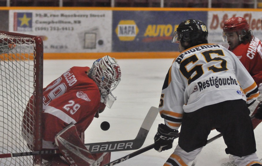 Tigers forward Joakim Bergeron watches as Fredericton Red Wings goaltender Andrew MacLeod makes a save in the third period of Sunday's 3-2 Red Wings win over the Tigers at the Campbellton Regional Memorial Civic Centre.