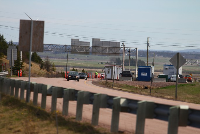 A checkpoint for incoming vehicles at the New Brunswick-Nova Scotia border.