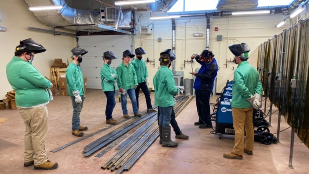 Woodstock High School's new welding class has a session at the school's welding shop.