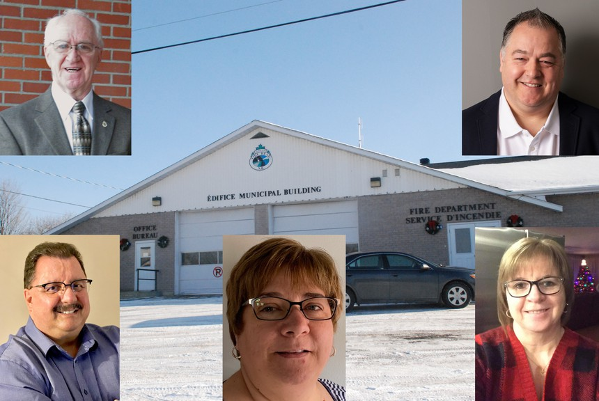Candidates in the Tide Head election are, for mayor, left top, Allan Dickson, and right top, Jean-Paul Dejario, and bottom, for council, from left, Maurice Comeau, Donna Fugere, and Catherine Johnson-McDavid. Also running for council are Tom Gallant and Mark St. Onge.