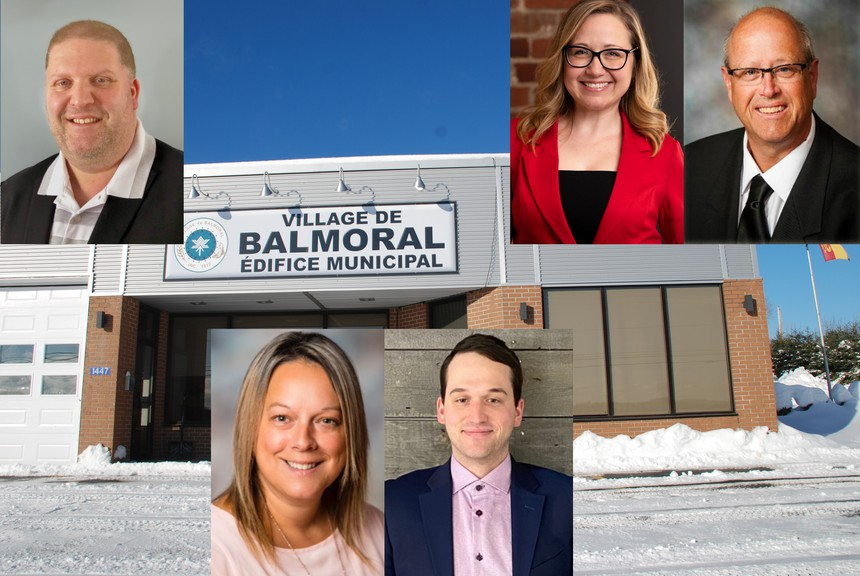 Those pictured are running for Balmoral council. Top left, Conrad Bourque, and top right, Annie Lebrecque and Guy Landry. Bottom, from left, Sophie Maltais and Mathieu Pelletier. Also running areHermel Grandmaison andDonald J. Savoie.