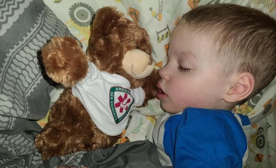 Dalhousie's Zach Doucet-Thibeault, 4, got to visit with a couple of paramedics on Wednesday where they gave his this teddy bear, of which he has not let go since.