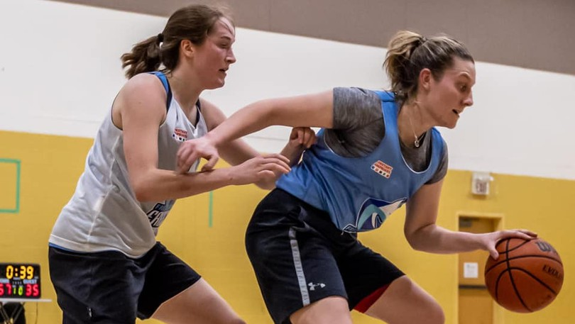 Madalynn Kean, left, and Jane Boyle are two potential players for the Fredericton Freeze franchise in the inaugural Maritime Women's Basketball Association season next spring. Brad Janes, a founder of the six-team league and the owner of the Freeze,said Tuesday the league and the team will not be deterred by the province's policy to prohibit the use of school gyms to adults.