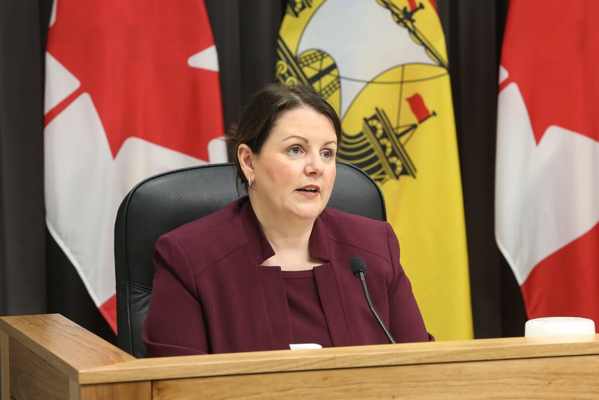 Dr. Jennifer Russell, New Brunswick chief medical officer of health, speaks at a press conference in this file photo. Eight new COVID-19 cases were reported Friday in New Brunswick, including one in Zone 7, the Miramichi health region.