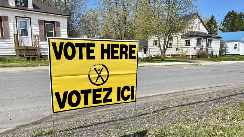 A sign marking a polling station in Sussex is seen Monday, May 10. The Sussex and District Chamber of Commerce is hosting a Fundy Royal candidate met and greet with presentations on the evening of Sept. 9 at the Sussex Rotary Amphitheatre.