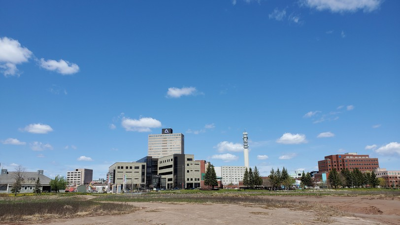 A view of downtown Moncton from the banks of the Petitcodiac River.
