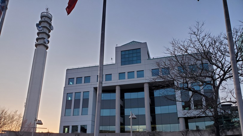 A view of Moncton City Hall at dusk.
