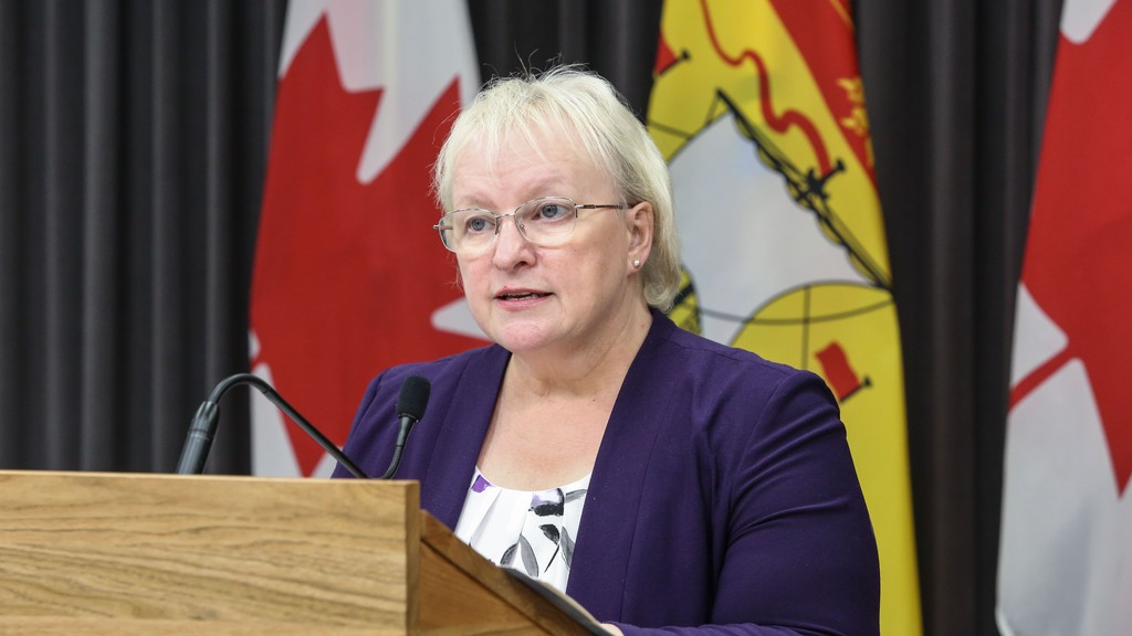 The province is reporting one death and three new cases of COVID-19 in the Bathurst region. Health Minister Dorothy Shephard is pictured at a recent COVID-19 press conference.