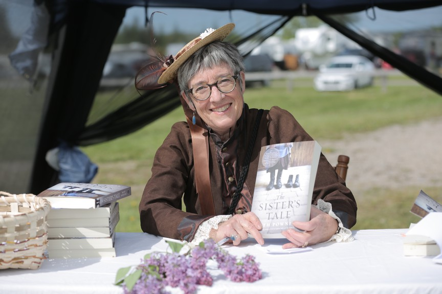 Author Beth Powning read from her latest novel, The Sister's Tale, on stage at the Sussex Drive-In on Saturday afternoon. The novel, published by Knopf Canada on May 25, delves into 19th century New Brunswick through the eyes of the female protagonist, Josephine Galloway.