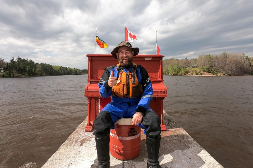 From May 17 to 22, Fredericton filmmaker Dillon Anthony canoed 225 kilometres of the Miramichi River system, with his trip ending at Bartibog Bridge. Anthony snapped a photo with the piano on an old bridge pier near the mouth of the Bartibog River upon completing his journey.