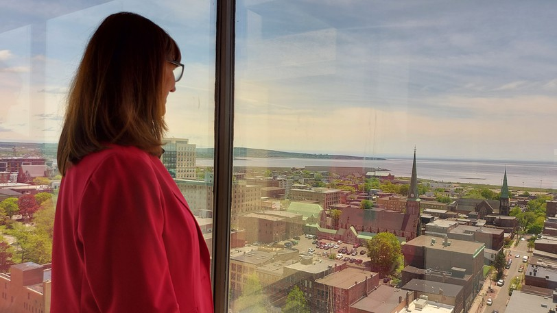 Paulette Hicks, CEO of Envision Saint John: The Regional Growth Agency, looks out over the city landscape from the agency's new headquarters on floor 16 of the Brunswick Square tower.