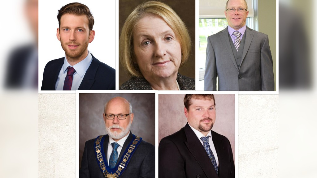 New mayors and municipal councils, as well as re-elected incumbents, will soon be sworn in for Miramichi and three other municipalities. Rogersville already swore in its mayor and council, and no dates have been announced for Neguac nor Doaktown. Leading the communities are (top row, from left): incumbent mayors Adam Lordon of Miramichi and Pierrette Robichaud of Rogersville and Blackville mayor-elect Ian Fortune. Bottom row, from left: incumbent mayors Georges Savoie of Neguac and Doug Munn of Upper Miramichi. Not pictured: Doaktown mayor-elect Caroline St. Pierre Taylor.