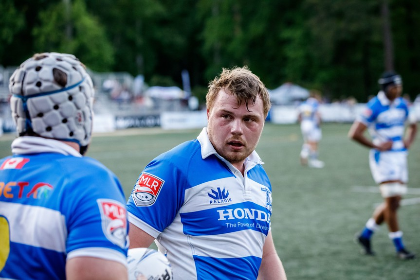Cole Keith, centre, of the Toronto Arrows rugby team, says living out of a hotel during the pandemic has its challenges.