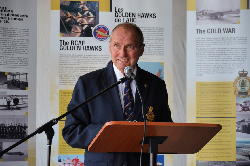 Retired senator Joseph Day, an honorary co-chair of the New Brunswick Aviation Museum capital campaign, speaks at the project's launch Friday at Miramichi Airport. Day announced a $100,000 donation from the Beaverbrook Canadian Foundation toward the museum's $25-million fundraising goal.