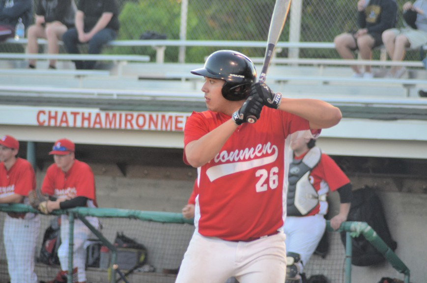 Kasen Sock went 2-for-3 at bat for the Chatham Molson Junior Ironmen in their 7-5 loss to the Metro Mudcats in New Brunswick Junior Baseball League action June 3 at Kiwanis Field in Moncton.