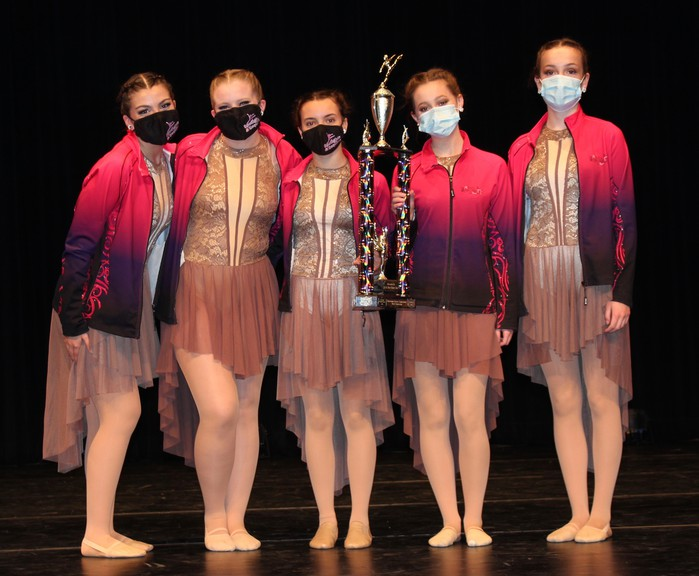 """From left: Anna Sturgeon, Rebekah Harris, Madison Bransfield, Claire Wood and Erica Butler of Spotlights and Sequins Dance received the top with their lyrical routine, """"Gold,"""" at the Maritime Dance Competition, held May 29 and 30 in Miramichi."""