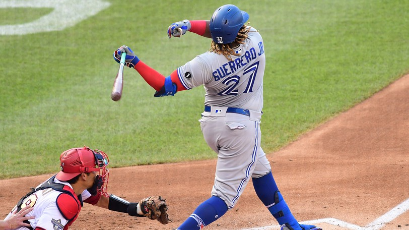 Toronto's Vladimir Guerrero is at or near the top of multiple offensive stats categories this season.