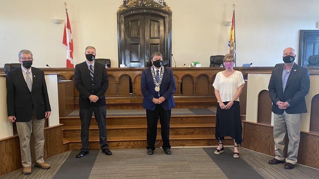 Hampton's new mayor and council from left: Coun. Ken Chorley, Deputy Mayor Jeremy Salgado, Mayor Bob 'Dewey' Doucet, Coun. Kim Tompkins, and Coun. Todd Beach.
