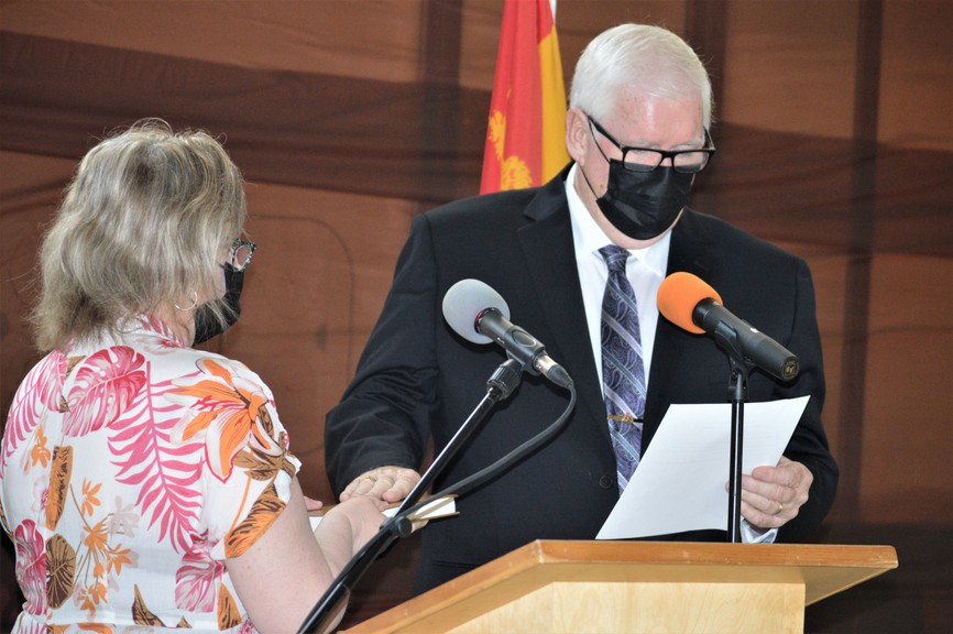 Tom Eagles was sworn in as mayor of Plaster Rock during ceremonies held at the Phil Sharkey Memorial Centre on Monday, June 7. Eagles committed to leading an open and transparent municipal government.