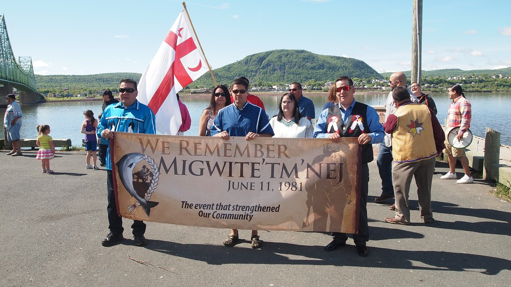 A march on June 11, 2018 in Listuguj First Nation marking the 1981 raids on salmon fishermen in the community. The 40th anniversary of the raids, which are seen in the First Nation as having started an awakening of Indigenous rights there, will be marked with ceremonies on Friday.