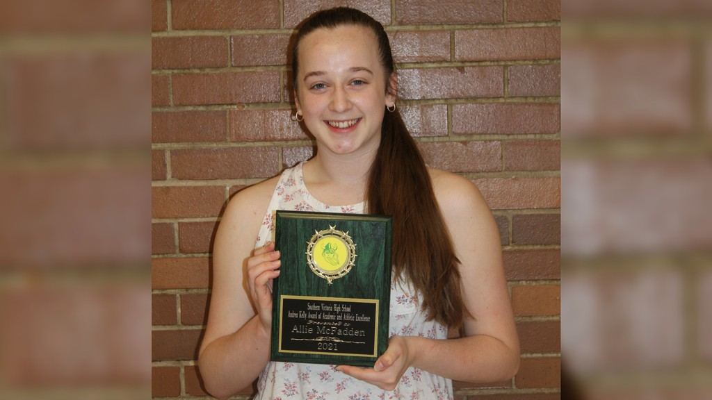 Allie McFadden received the Andrea Kelly Award for Academic and Athletic Excellence at Southern Victoria High School in Perth-Andover. The award is presented to the female senior student athlete with the highest overall high school average.
