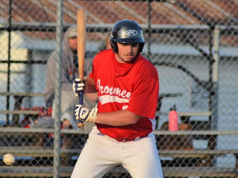 Rylan Matchett hit a double for the Chatham Molson Junior Ironmen in their 7-3 loss to the Fredericton Tim Hortons Altimax Royals in New Brunswick Junior Baseball League play Wednesday at Ironmen Field.