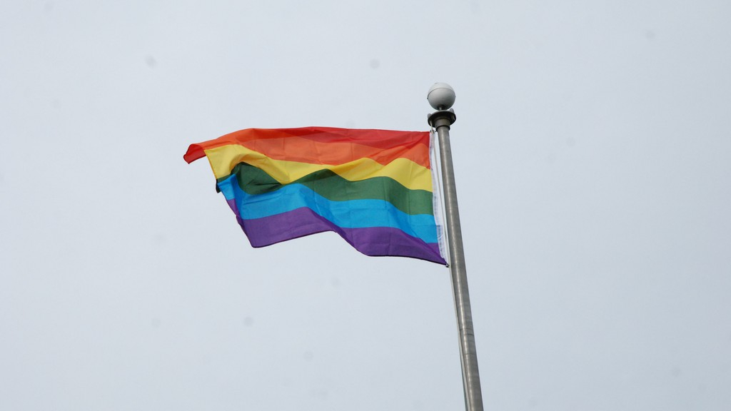 The LGBTQ+ rainbow Pride flag is pictured flying on the Campbellton waterfront in this file photo. The city will again raise the flag on Monday, June 14, at 5:30 p.m. The flag raising will also be livestreamed on Facebook Live.