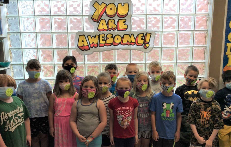 Students at Andover Elementary School and Perth-Andover Middle School were celebrated at Student Appreciation Day held throughout the district and province for the first time on June 9. Students, including this group from Andover Elementary, wore their thumbs-up stickers on their masks and enjoyed a variety of activities.