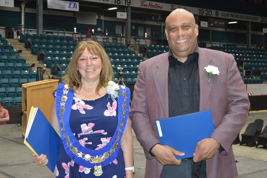 Kim Chamberlain, the City of Bathurst's first female mayor, and Jean-François LeBlanc, the first person of colour elected to council, are pictured following the swearing-in ceremony held at the K.C. Irving Regional Centre Monday night.