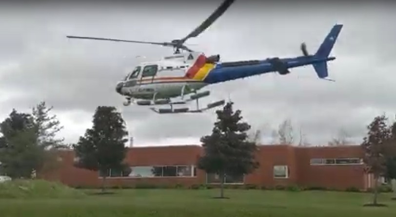 An RCMP helicopter at the Southeast District headquarters building in Riverview on June 15.