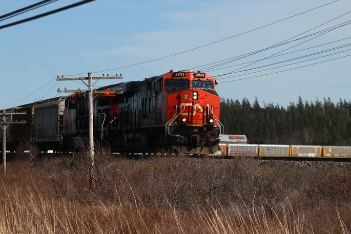 A CN train moves over the Chignecto Isthmus near Sackville, N.B.