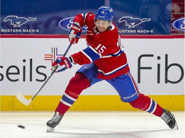 Montreal Canadiens Jesperi Kotkaniemi, shown here in playoff action against the Winnipeg Jets, was a healthy scratch for Game 4 of the Stanley Cup final Monday night.
