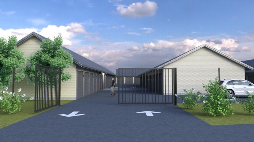 City councillors have approved a rezoning to accommodate a self-storage facility in northwest Moncton, shown in a computer rendering.