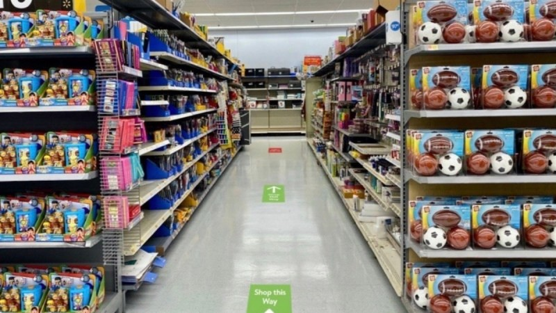 The province issued a possible public exposure alert for a Walmart store in Zone 7, the Miramichi region. Directional arrows direct customers down an aisle in this Walmart promotional photo.