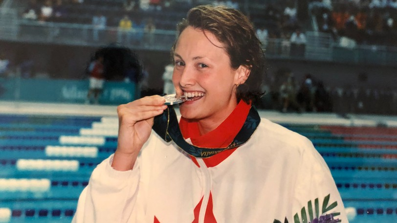 Fredericton's Marianne Limpert basks in the glow of winning a silver medal in swimming at the 1996 Summer Olympics in Atlanta, Ga. Limpert was chosen one of The 25 Greatest New Brunswick Athletes of the Century in a list Gleaner sports editor Bruce Hallihan compiled with then-New Brunswick Sports Hall of Fame executive director Kathy Meagher in 2000.