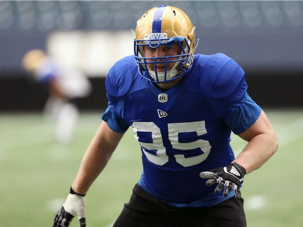 Defensive tackle Jake Thomas of Douglas is part of Winnipeg's vaunted defence.