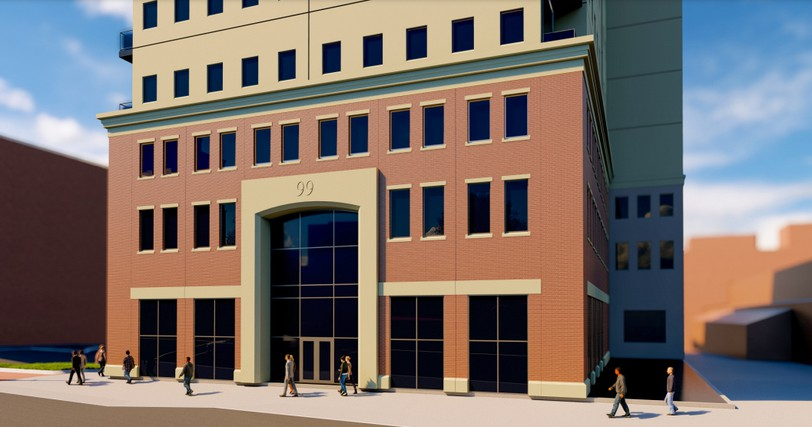 The 12-storey mixed use commercial and residential building proposed for 91 King St. is shown in this rendering.